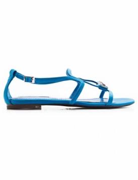 sandalia chata azul
