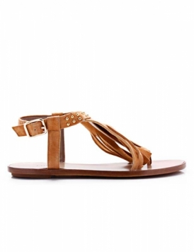 sandalia chata marron